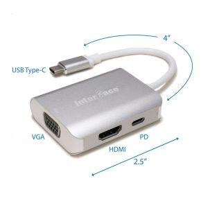 Type C to HDMI + VGA + PD MultiPort Hub(IFCPL208