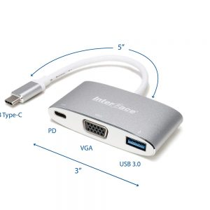 This multiport hub convert from type-c to vga, USB 3.0 and PD
