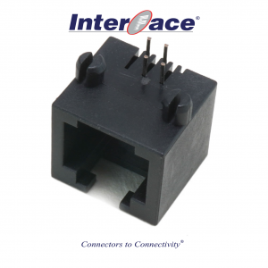 6P4C Vertical Through Mount Unshielded Modular Jack Right Angle