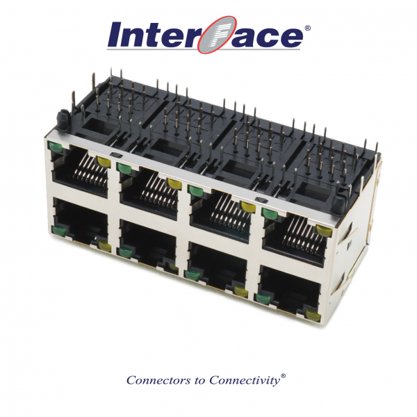 RJ45 8P8C 2x4 Modular Jack Shielded with Dual LED and Fins