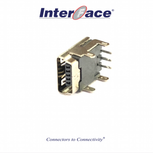 J-U134GFSLF-4H, USB2.0 5Pin MiniB 4Hole Female Right Angle Connector