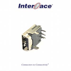 J-U134GFSLF, USB2.0 5Pin MiniB 2Hole Female Right Angle Connector